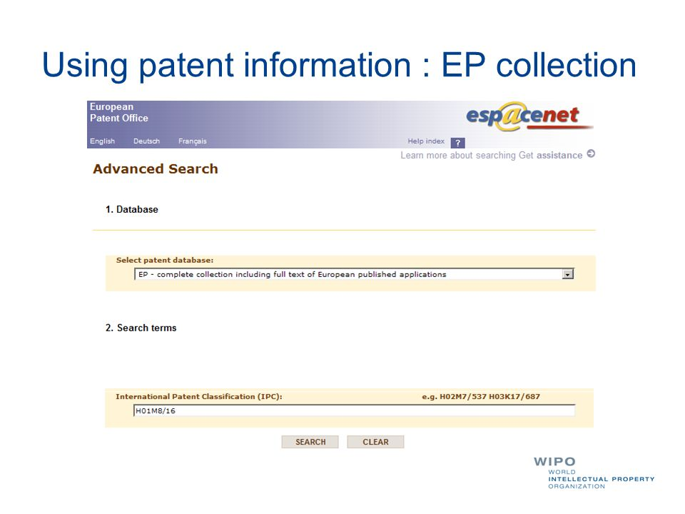 Using patent information : EP collection