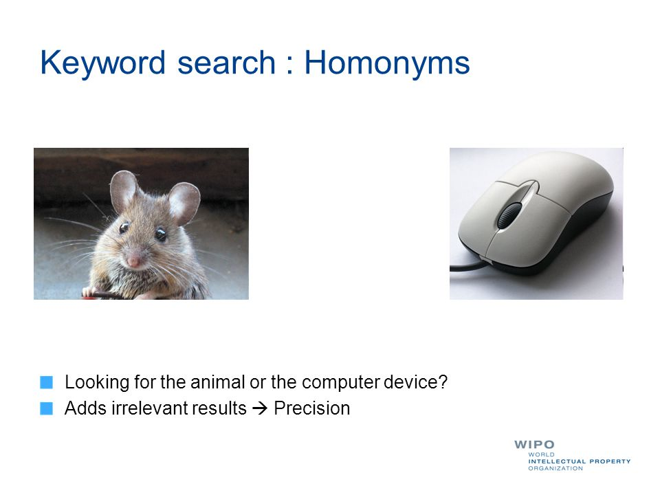 Keyword search : Homonyms Looking for the animal or the computer device? Adds irrelevant results  Precision