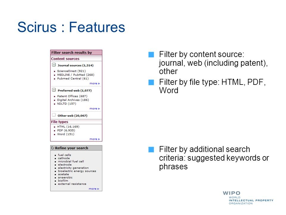 Scirus : Features Filter by content source: journal, web (including patent), other Filter by file type: HTML, PDF, Word Filter by additional search criteria: suggested keywords or phrases