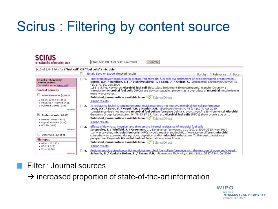 Scirus : Filtering by content source Filter : Journal sources  increased proportion of state-of-the-art information