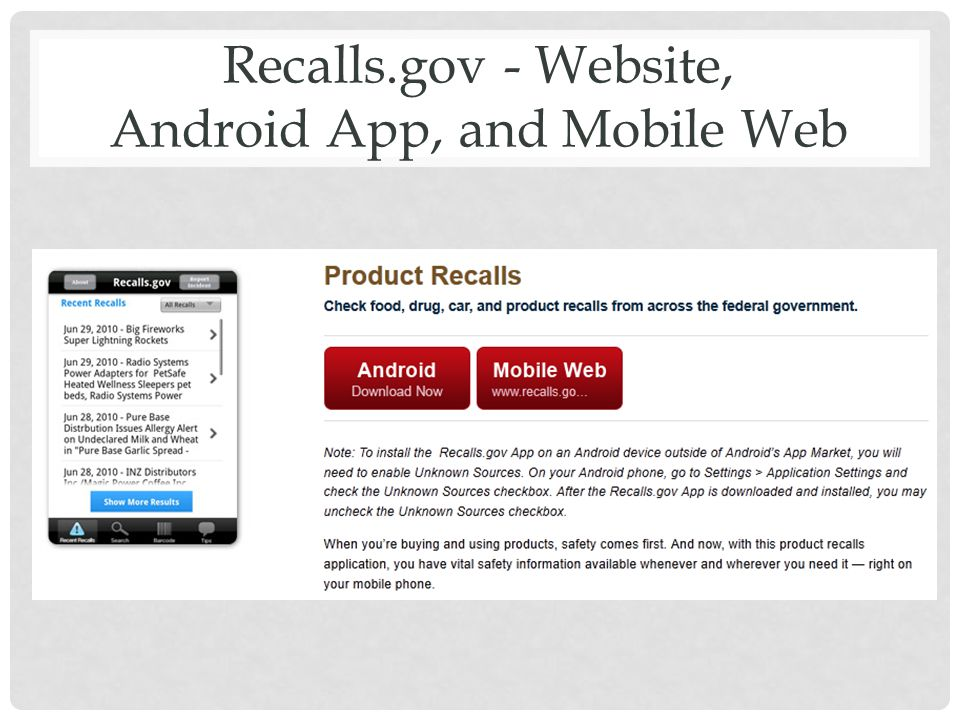 Recalls.gov - Website, Android App, and Mobile Web