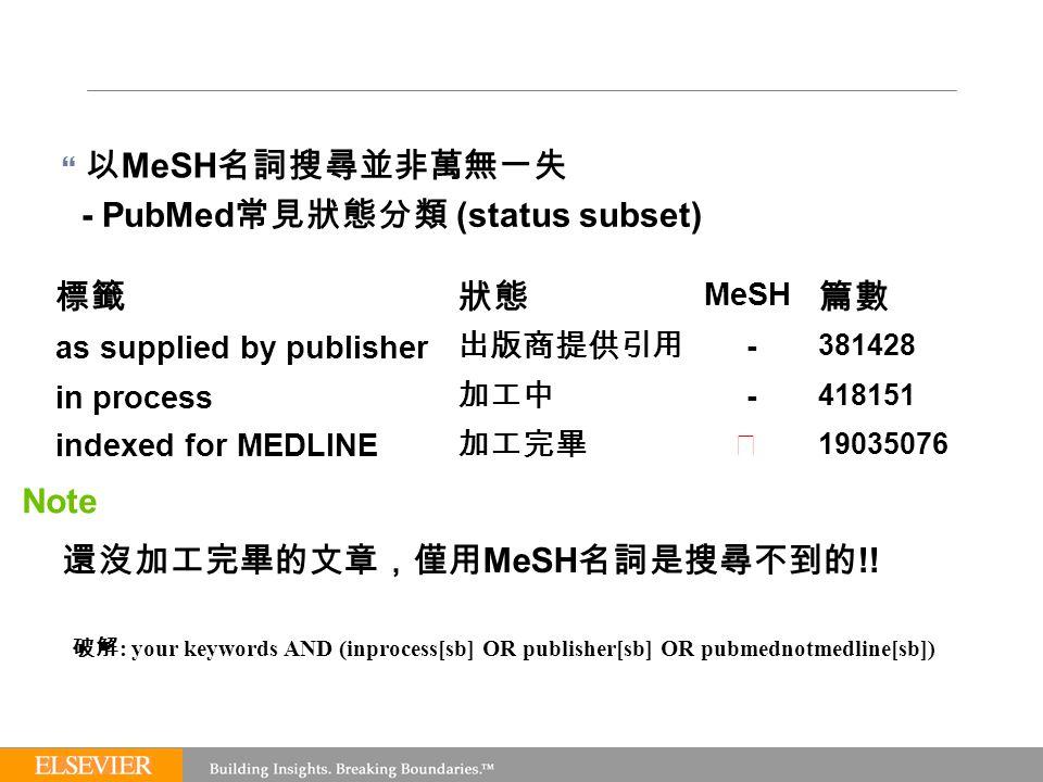  以 MeSH 名詞搜尋並非萬無一失 - PubMed 常見狀態分類 (status subset) 標籤 狀態 MeSH 篇數 as supplied by publisher 出版商提供引用 - 381428 in process 加工中 - 418151 indexed for MEDLINE 加工完畢 ◎ 19035076 Note 還沒加工完畢的文章,僅用 MeSH 名詞是搜尋不到的 !.