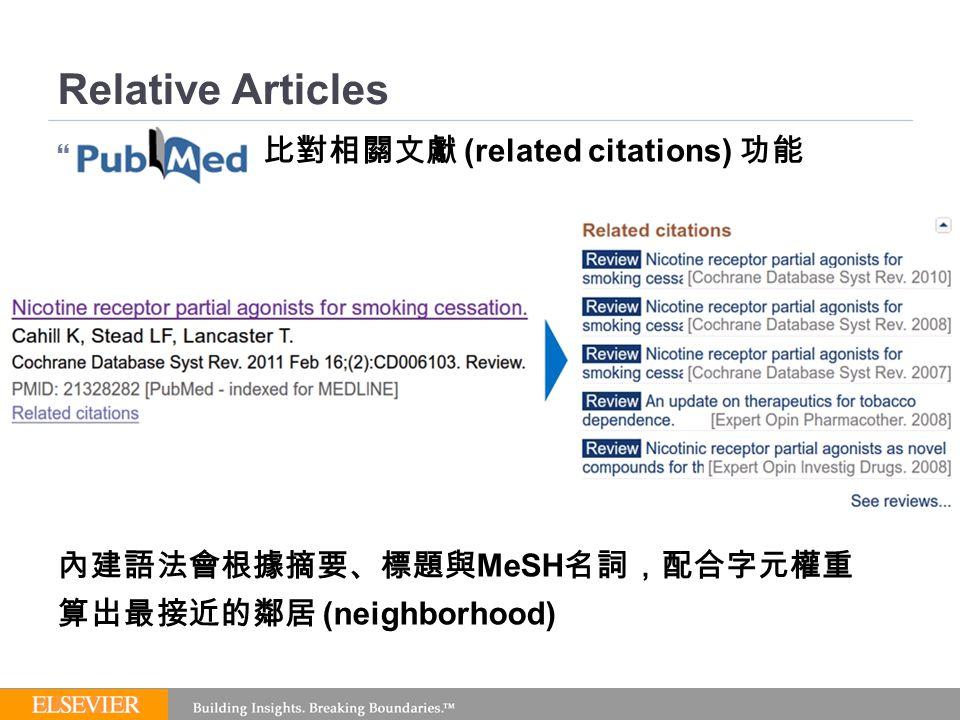 Relative Articles  比對相關文獻 (related citations) 功能 內建語法會根據摘要、標題與 MeSH 名詞,配合字元權重 算出最接近的鄰居 (neighborhood)