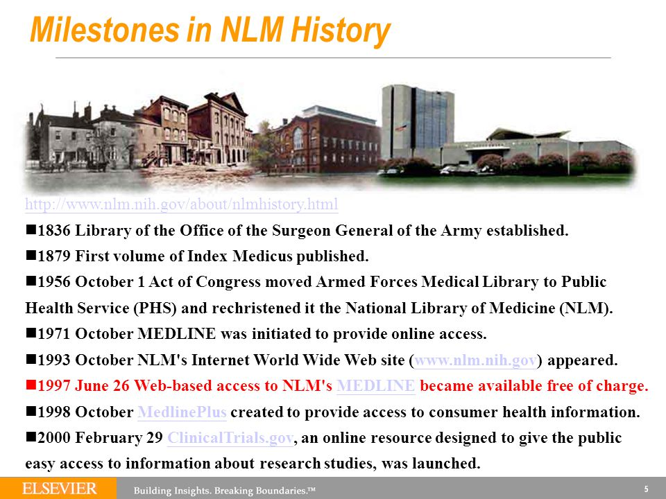 5 Milestones in NLM History http://www.nlm.nih.gov/about/nlmhistory.html 1836 Library of the Office of the Surgeon General of the Army established.
