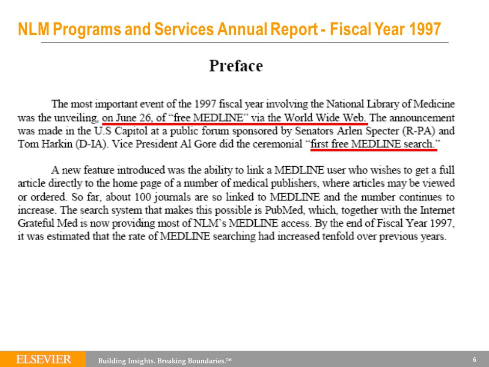6 NLM Programs and Services Annual Report - Fiscal Year 1997