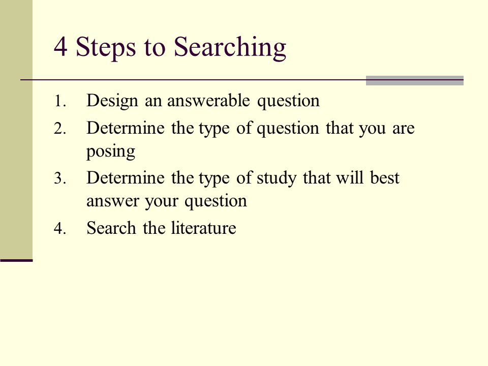Designing an Answerable Question A well-built clinical question should have 4 components.
