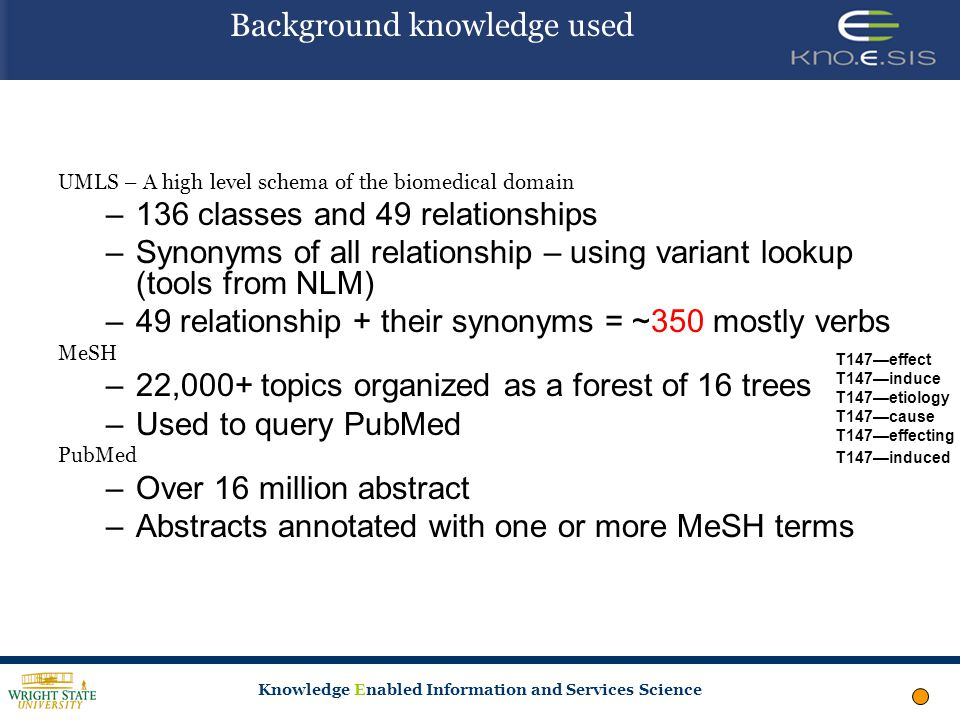 Knowledge Enabled Information and Services Science Background knowledge used UMLS – A high level schema of the biomedical domain –136 classes and 49 relationships –Synonyms of all relationship – using variant lookup (tools from NLM) –49 relationship + their synonyms = ~350 mostly verbs MeSH –22,000+ topics organized as a forest of 16 trees –Used to query PubMed PubMed –Over 16 million abstract –Abstracts annotated with one or more MeSH terms T147—effect T147—induce T147—etiology T147—cause T147—effecting T147—induced