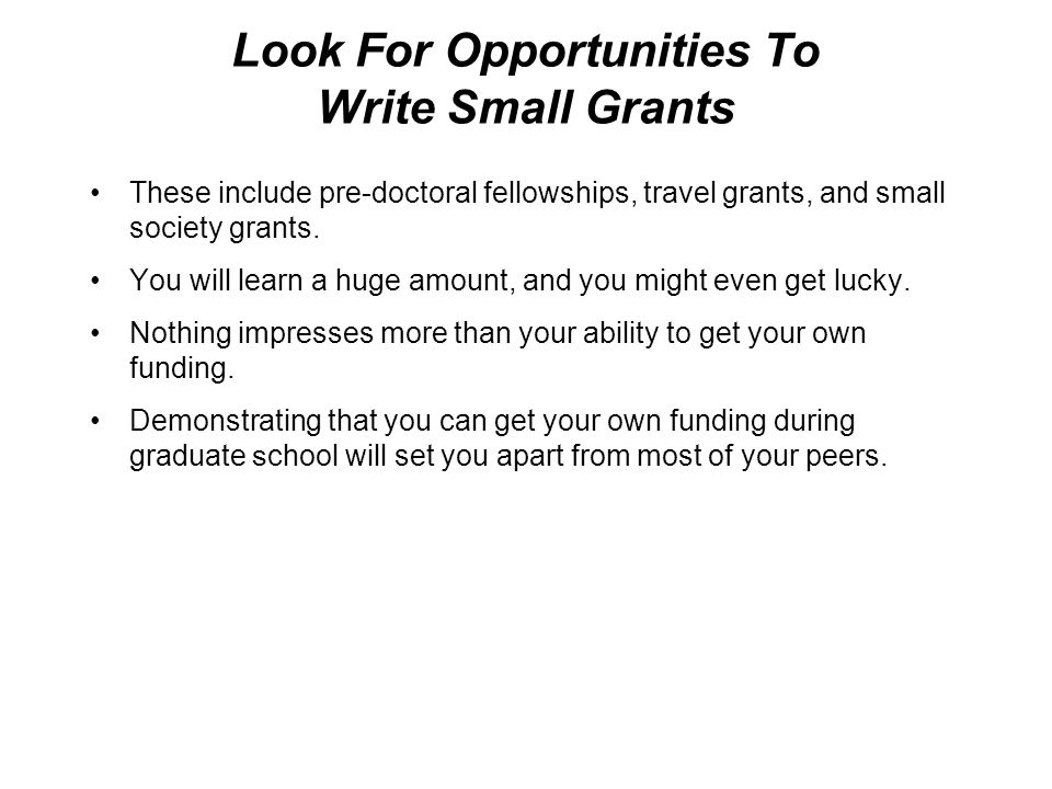 Look For Opportunities To Write Small Grants These include pre-doctoral fellowships, travel grants, and small society grants.