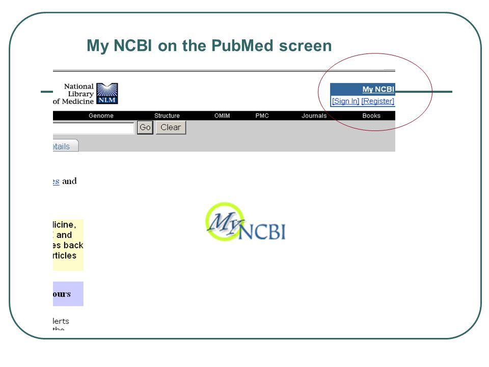 My NCBI on the PubMed screen