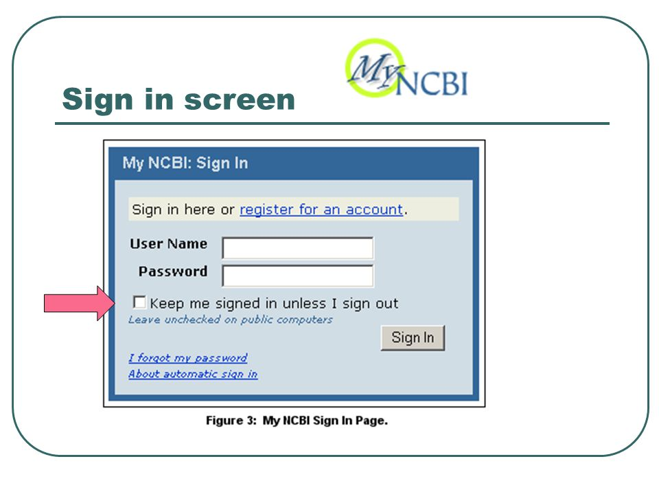 Sign in screen