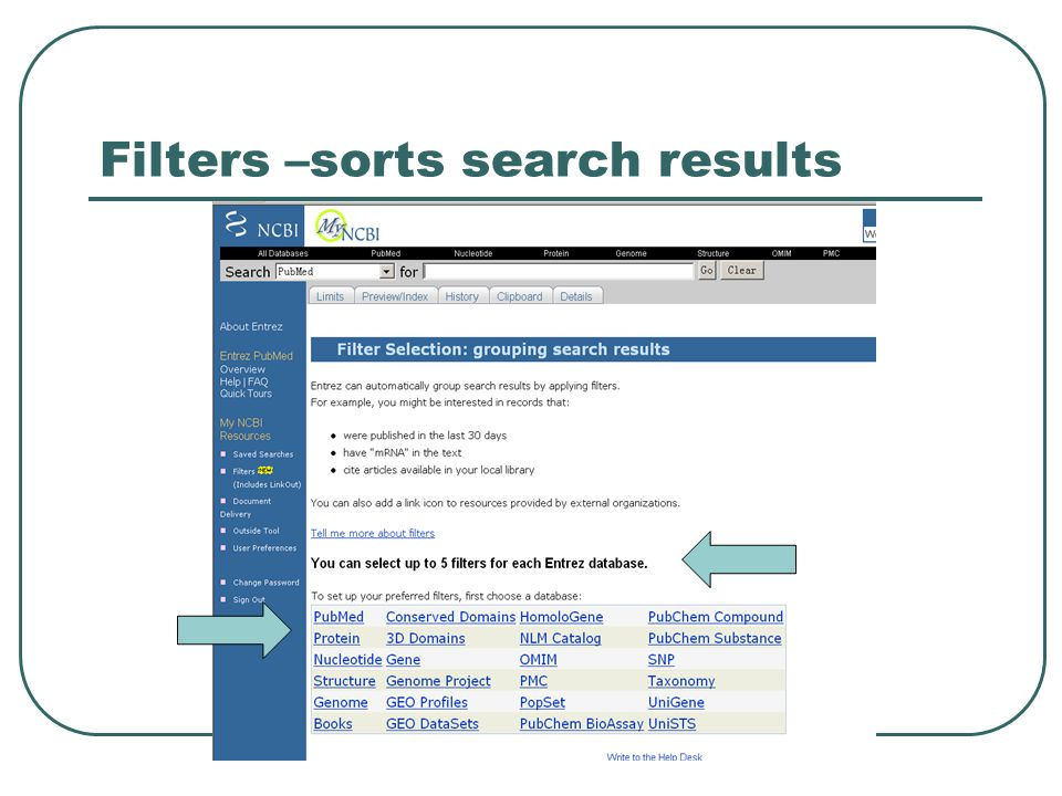 Filters –sorts search results