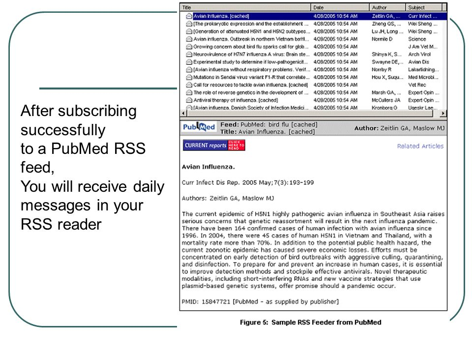 After subscribing successfully to a PubMed RSS feed, You will receive daily messages in your RSS reader
