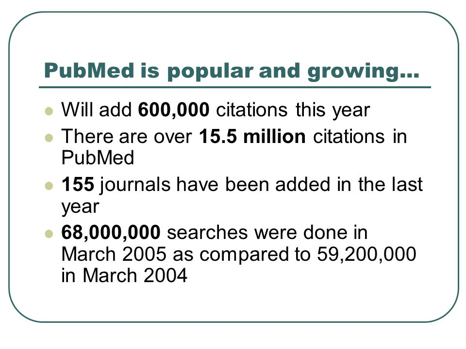 PubMed is popular and growing... Will add 600,000 citations this year There are over 15.5 million citations in PubMed 155 journals have been added in