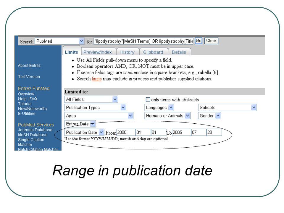 Range in publication date