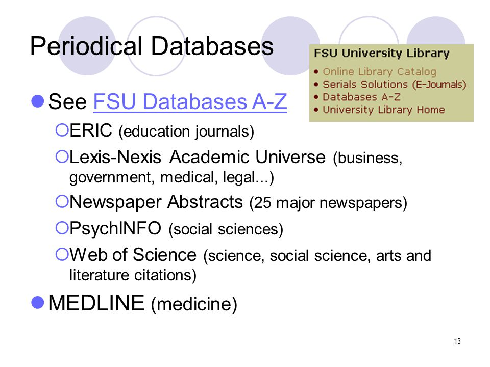 13 Periodical Databases See FSU Databases A-ZFSU Databases A-Z  ERIC (education journals)  Lexis-Nexis Academic Universe (business, government, medical, legal...)  Newspaper Abstracts (25 major newspapers)  PsychINFO (social sciences)  Web of Science (science, social science, arts and literature citations) MEDLINE (medicine)