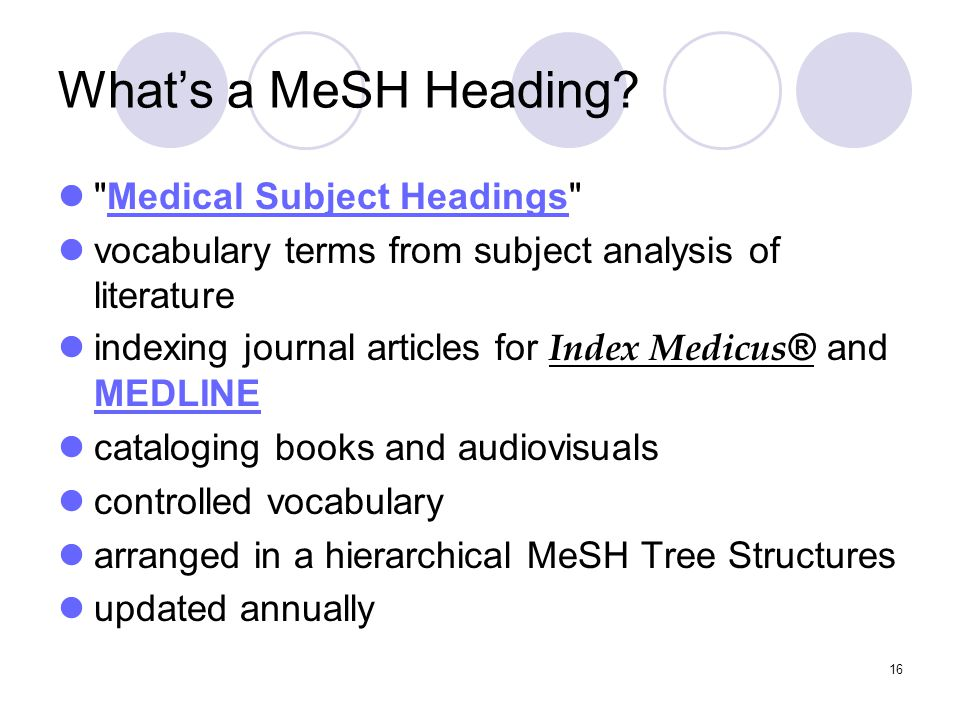 16 What's a MeSH Heading.