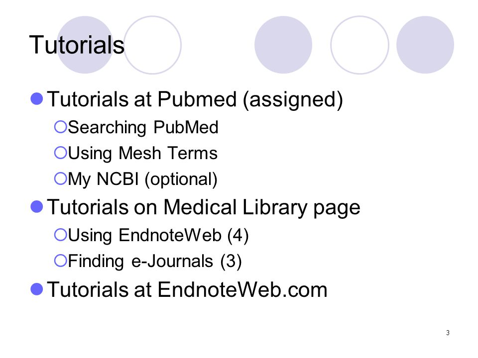 3 Tutorials Tutorials at Pubmed (assigned)  Searching PubMed  Using Mesh Terms  My NCBI (optional) Tutorials on Medical Library page  Using EndnoteWeb (4)  Finding e-Journals (3) Tutorials at EndnoteWeb.com