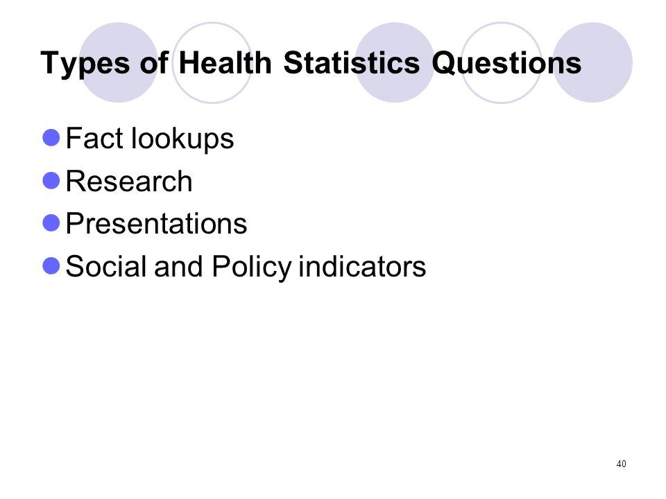 40 Types of Health Statistics Questions Fact lookups Research Presentations Social and Policy indicators