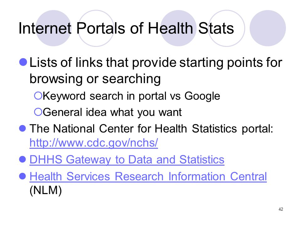 42 Internet Portals of Health Stats Lists of links that provide starting points for browsing or searching  Keyword search in portal vs Google  General idea what you want The National Center for Health Statistics portal: http://www.cdc.gov/nchs/ http://www.cdc.gov/nchs/ DHHS Gateway to Data and Statistics Health Services Research Information Central (NLM) Health Services Research Information Central