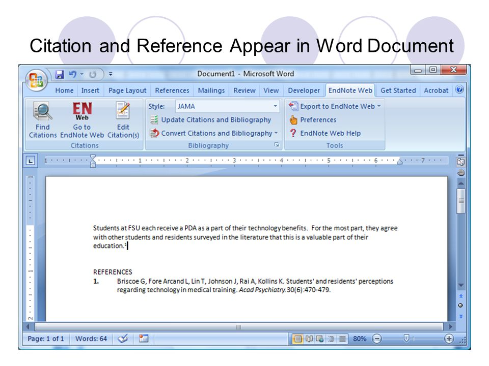 Citation and Reference Appear in Word Document 69