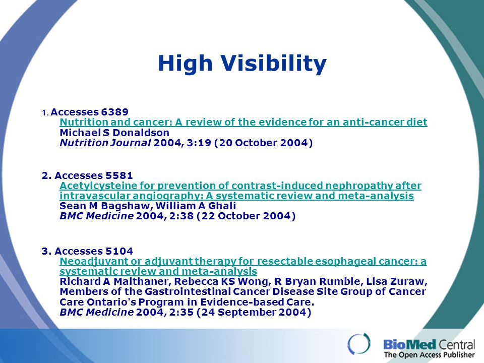 High Visibility 1. Accesses 6389 Nutrition and cancer: A review of the evidence for an anti-cancer diet Michael S Donaldson Nutrition Journal 2004, 3: