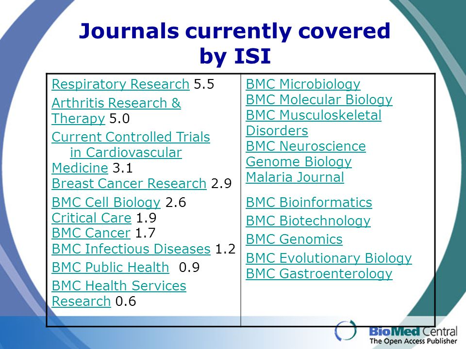 Journals currently covered by ISI Respiratory Research Respiratory Research 5.5 Arthritis Research & TherapyArthritis Research & Therapy 5.0 Current C