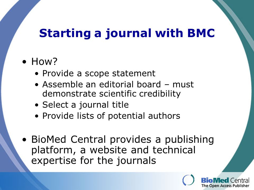 Starting a journal with BMC How.