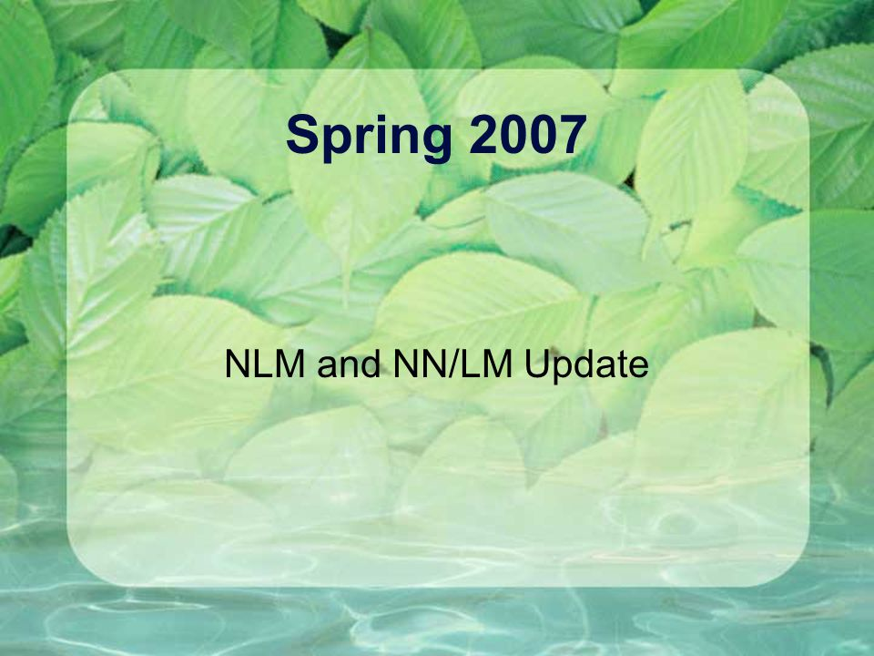Spring 2007 NLM and NN/LM Update