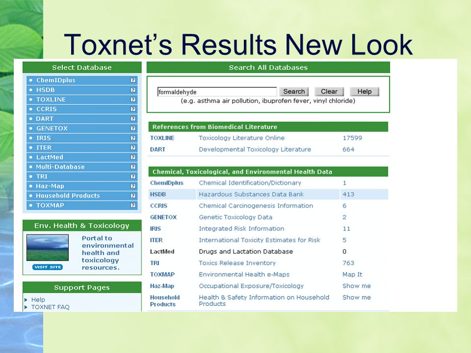 Toxnet's Results New Look