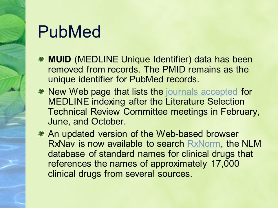 PubMed MUID (MEDLINE Unique Identifier) data has been removed from records.