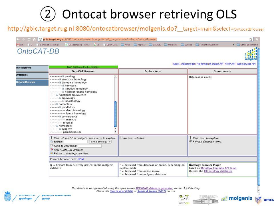 ②Ontocat browser retrieving OLS http://gbic.target.rug.nl:8080/ontocatbrowser/molgenis.do.
