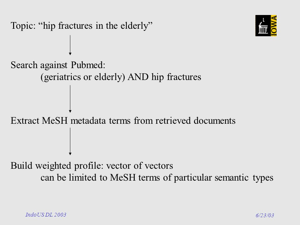 6/23/03 IndoUS DL 2003 Topic: hip fractures in the elderly Search against Pubmed: (geriatrics or elderly) AND hip fractures Extract MeSH metadata terms from retrieved documents Build weighted profile: vector of vectors can be limited to MeSH terms of particular semantic types