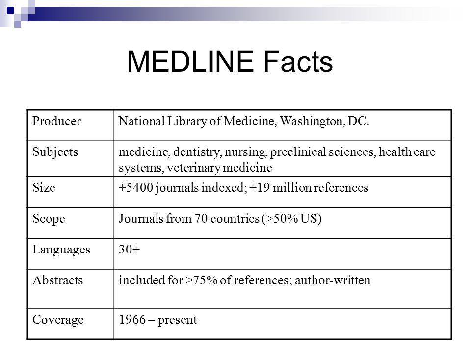 MEDLINE Facts ProducerNational Library of Medicine, Washington, DC.
