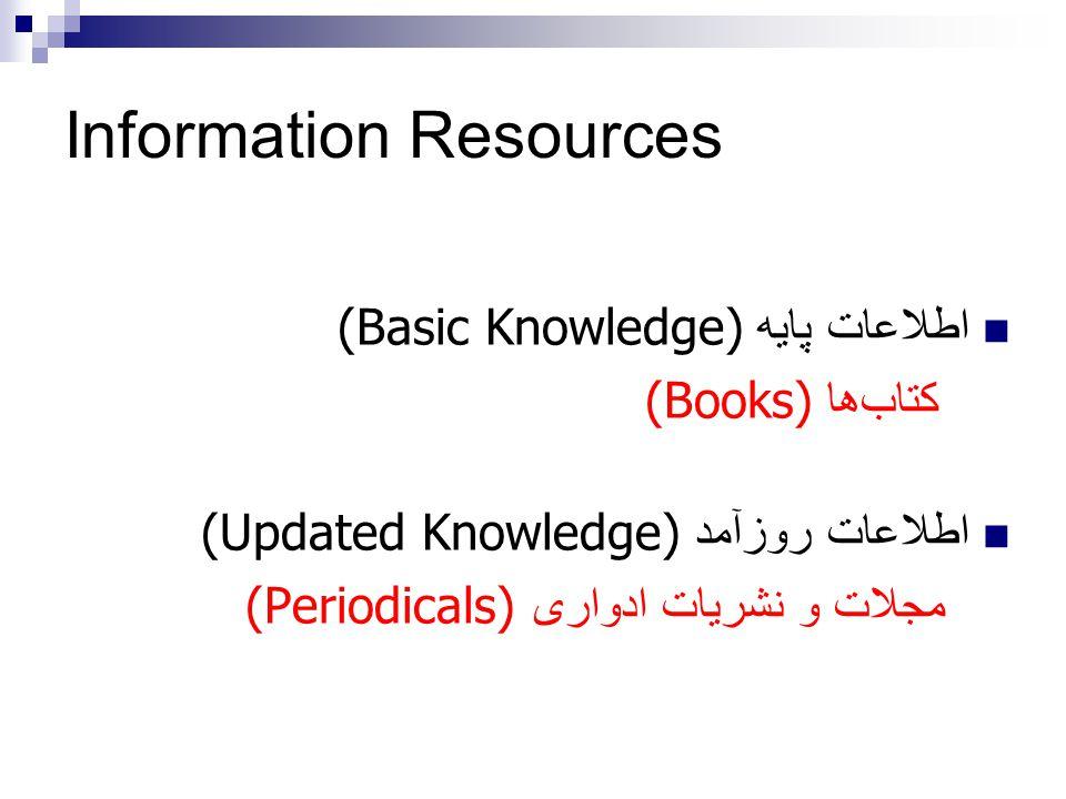 اطلاعات پايه (Basic Knowledge) کتاب  ها (Books) اطلاعات روزآمد (Updated Knowledge) مجلات و نشريات ادواری (Periodicals) Information Resources