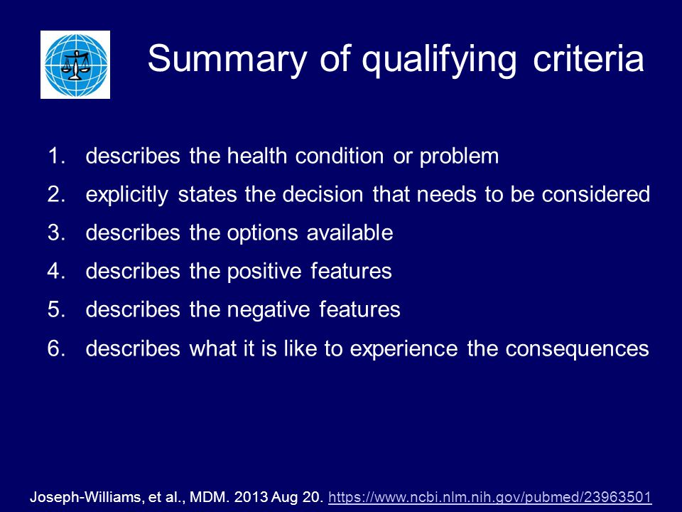 Summary of qualifying criteria 1.describes the health condition or problem 2.explicitly states the decision that needs to be considered 3.describes the options available 4.describes the positive features 5.describes the negative features 6.describes what it is like to experience the consequences Joseph-Williams, et al., MDM.