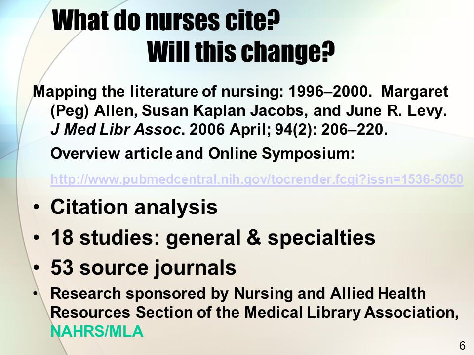 What do nurses cite. Will this change. Mapping the literature of nursing: 1996–2000.