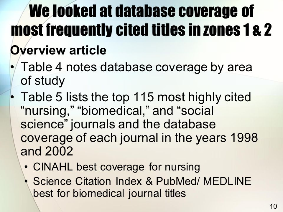 """Overview article Table 4 notes database coverage by area of study Table 5 lists the top 115 most highly cited """"nursing,"""" """"biomedical,"""" and """"social sci"""