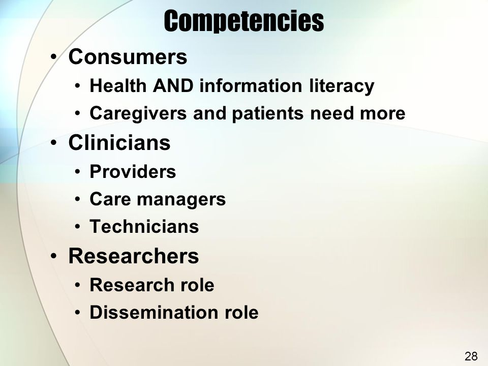 Competencies Consumers Health AND information literacy Caregivers and patients need more Clinicians Providers Care managers Technicians Researchers Research role Dissemination role 28
