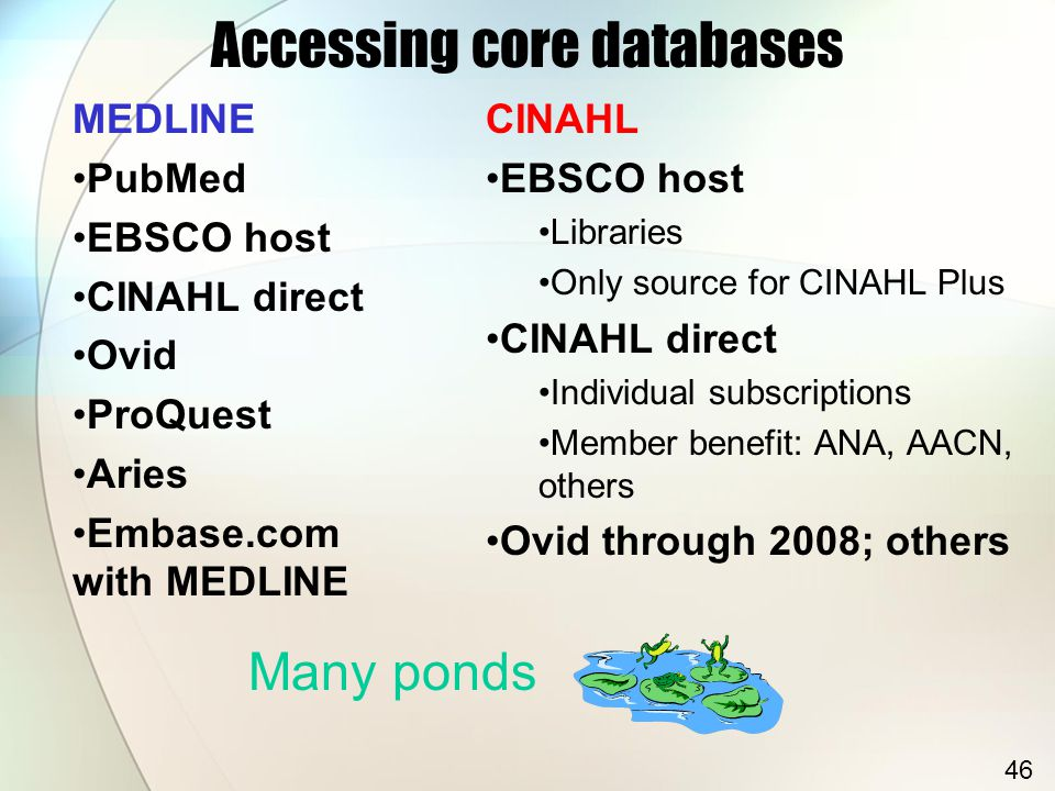 Accessing core databases MEDLINE PubMed EBSCO host CINAHL direct Ovid ProQuest Aries Embase.com with MEDLINE CINAHL EBSCO host Libraries Only source for CINAHL Plus CINAHL direct Individual subscriptions Member benefit: ANA, AACN, others Ovid through 2008; others Many ponds 46