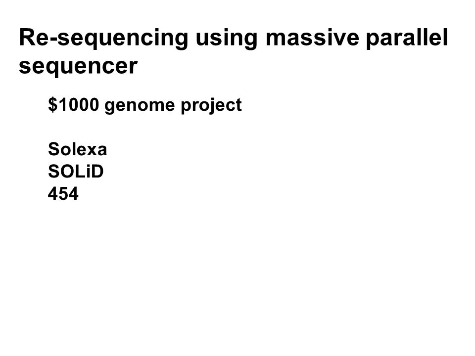 $1000 genome project Solexa SOLiD 454 Re-sequencing using massive parallel sequencer