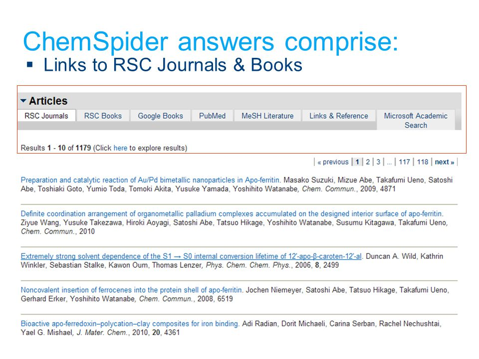 ChemSpider answers comprise:  Links to RSC Journals & Books
