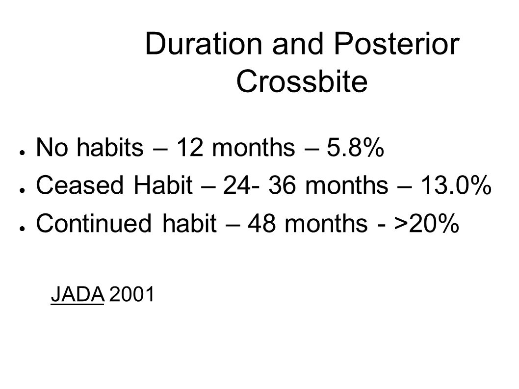 Duration and Posterior Crossbite ● No habits – 12 months – 5.8% ● Ceased Habit – 24- 36 months – 13.0% ● Continued habit – 48 months - >20% JADA 2001