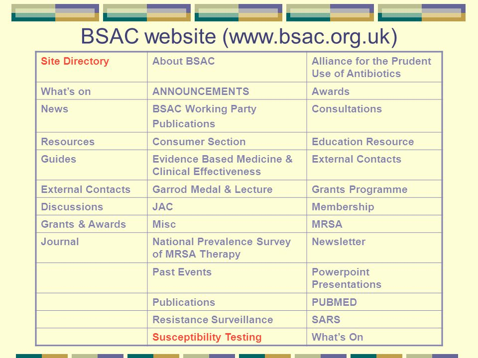 BSAC website (www.bsac.org.uk) Site directoryAbout BSACAlliance for prudent use of Antibiotics What's onAnnouncementsAwards NewsBSAC Working Party Publications Consumer-section Resources Education ResourceEvidence Based Medicine & Clinical Effectiveness GuidesGarrod Medal & LectureGrants Programme External Contacts JACMembership DiscussionsMISCNational Prevalence Survey of MRSA Therapy Grants & AwardsNewsletterPast events JournalPowerPoint PresentationsPublications PUBMEDResistance Surveillance SARS What's on Susceptibility Testing