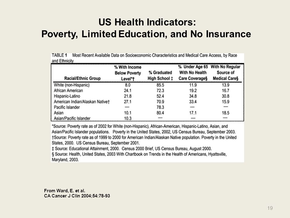 From Ward, E. et al. CA Cancer J Clin 2004;54:78-93 US Health Indicators: Poverty, Limited Education, and No Insurance 19
