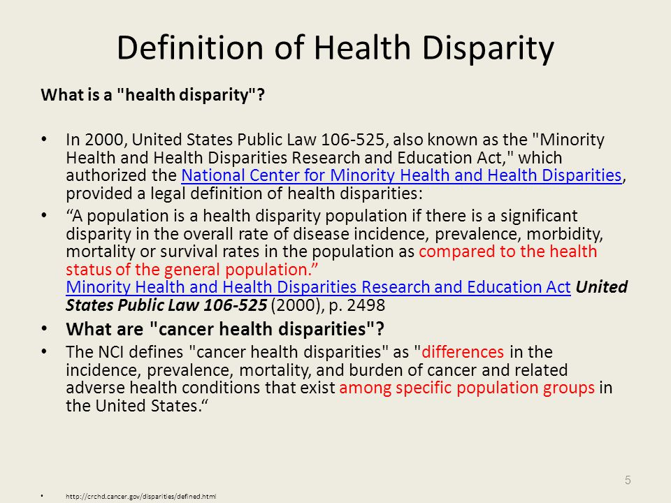 Definition of Health Disparity What is a