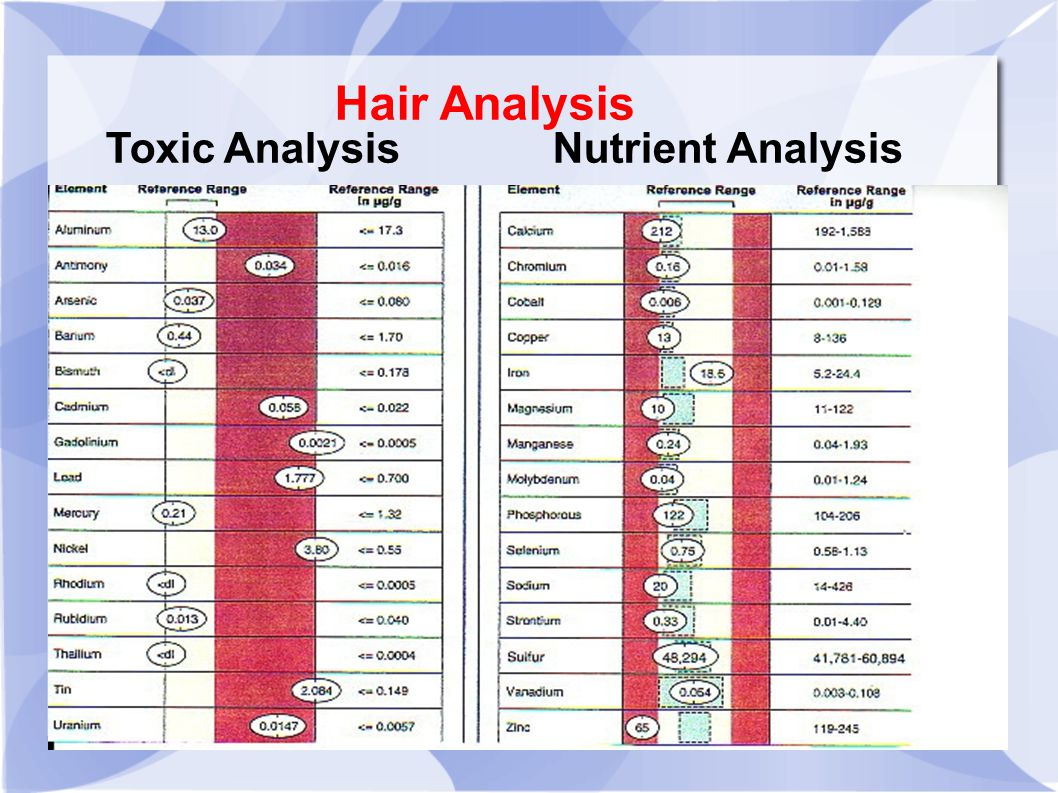 Toxic Analysis Nutrient Analysis Hair Analysis