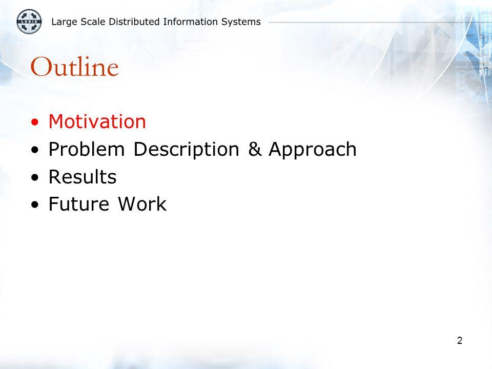 2 Outline Motivation Problem Description & Approach Results Future Work