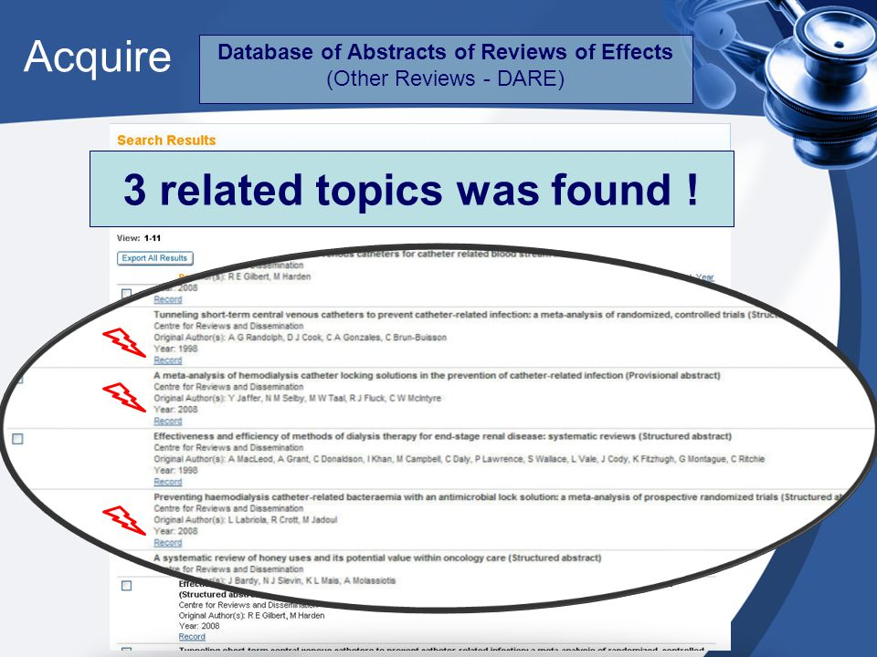 Acquire Database of Abstracts of Reviews of Effects (Other Reviews - DARE) 3 related topics was found !