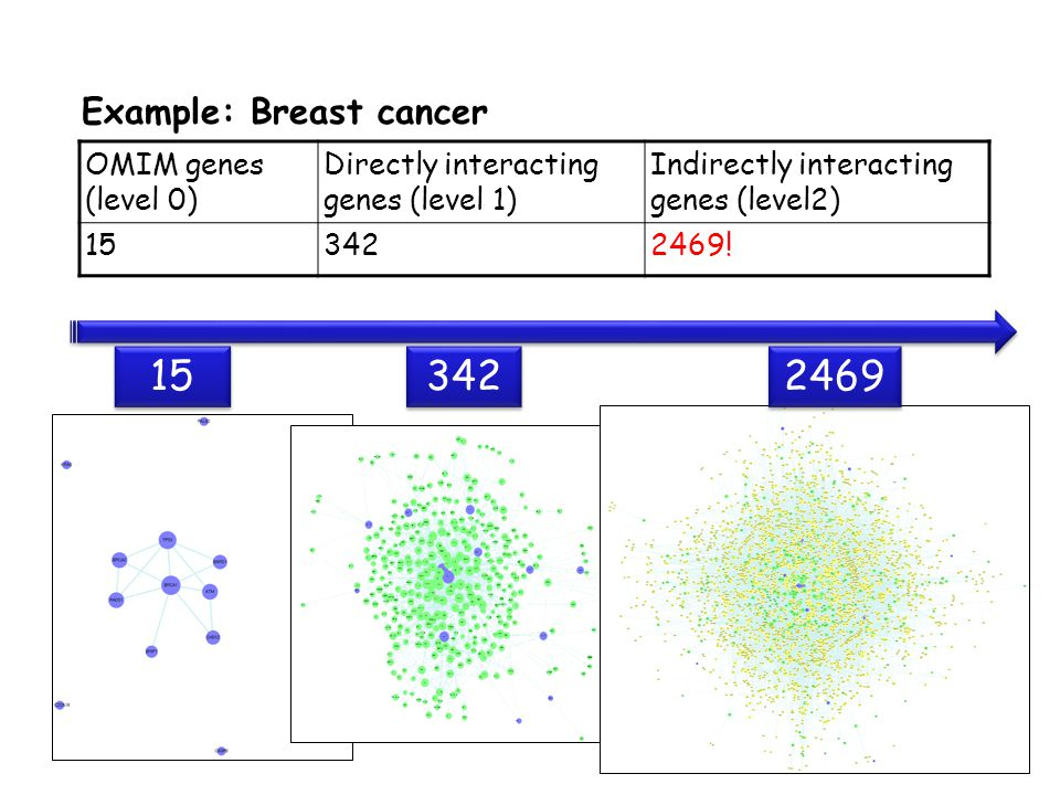 Example: Breast cancer OMIM genes (level 0) Directly interacting genes (level 1) Indirectly interacting genes (level2) 153422469.