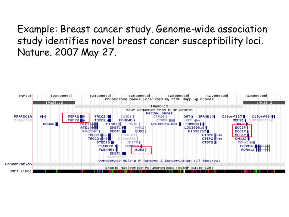Example: Breast cancer study.
